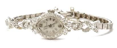 14k WHITE GOLD & DIAMOND BULOVA LADIES WRISTWATCH