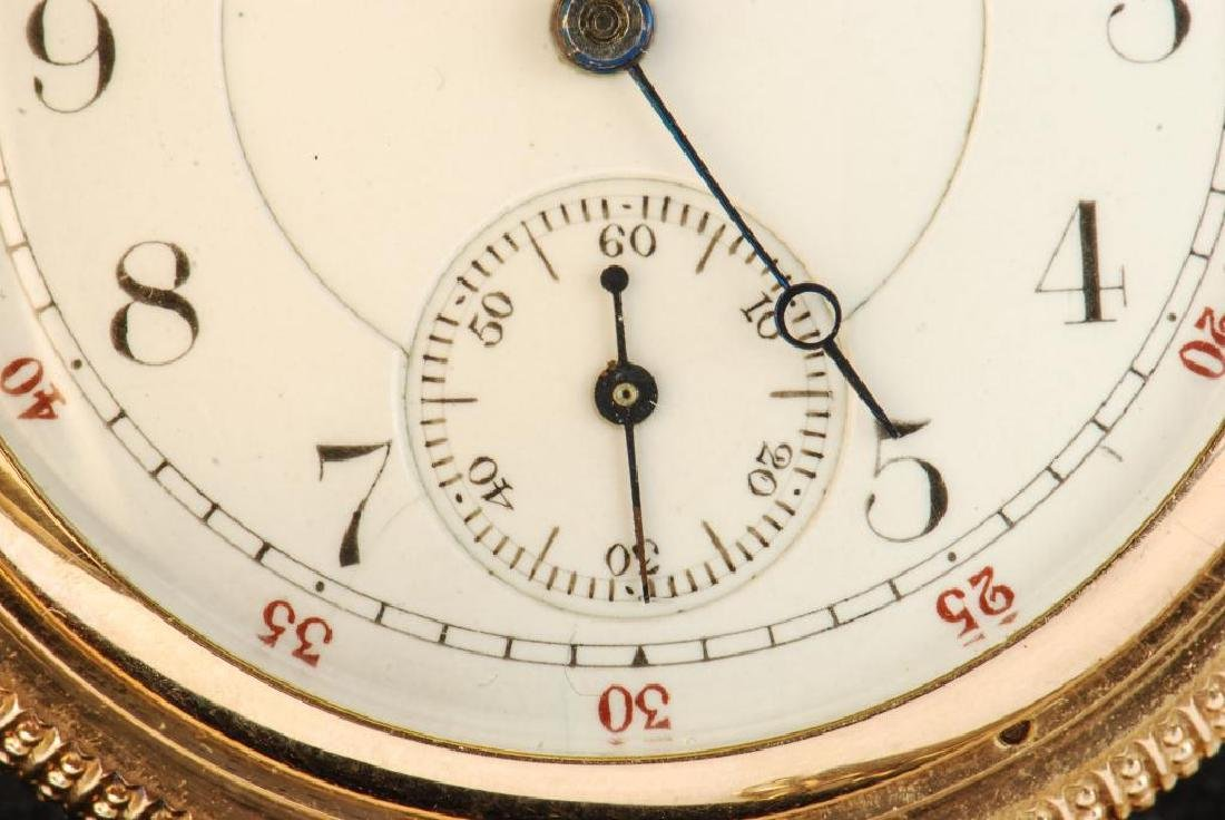 AMERICAN WALTHAM GOLD POCKET WATCH AND CHAIN - 2