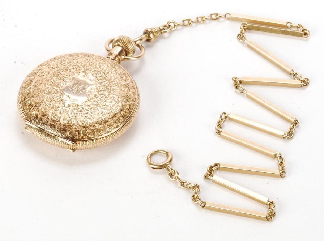 AMERICAN WALTHAM GOLD POCKET WATCH AND CHAIN - 3