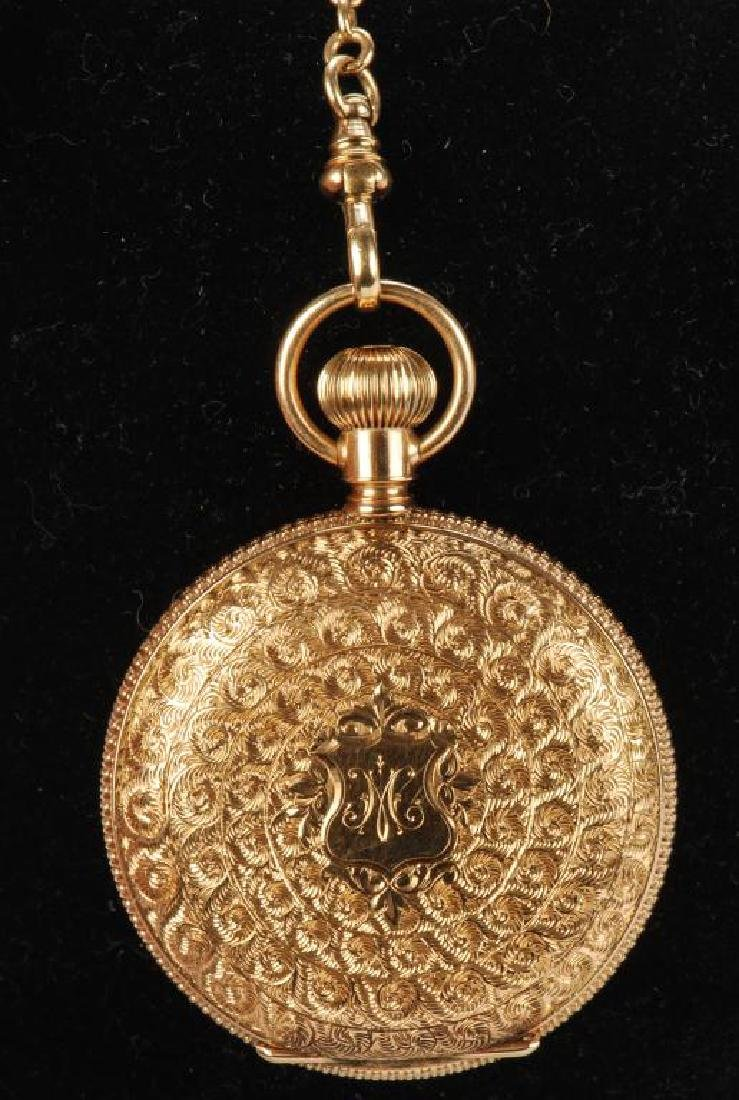 AMERICAN WALTHAM GOLD POCKET WATCH AND CHAIN - 5