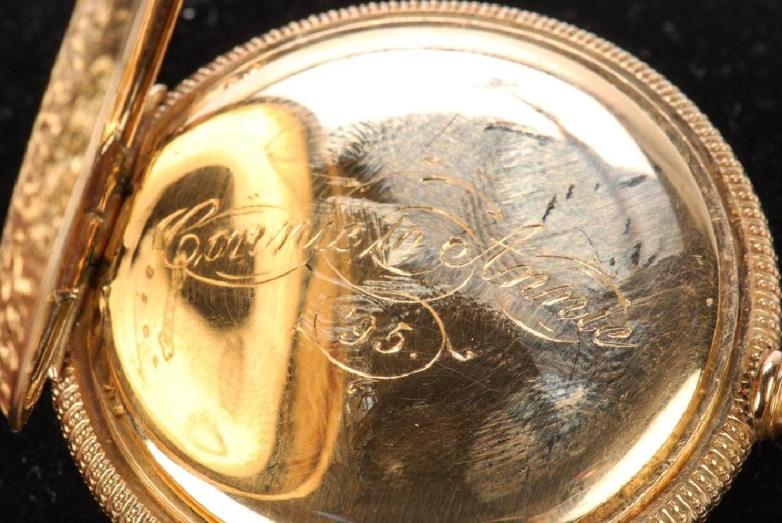 AMERICAN WALTHAM GOLD POCKET WATCH AND CHAIN - 7