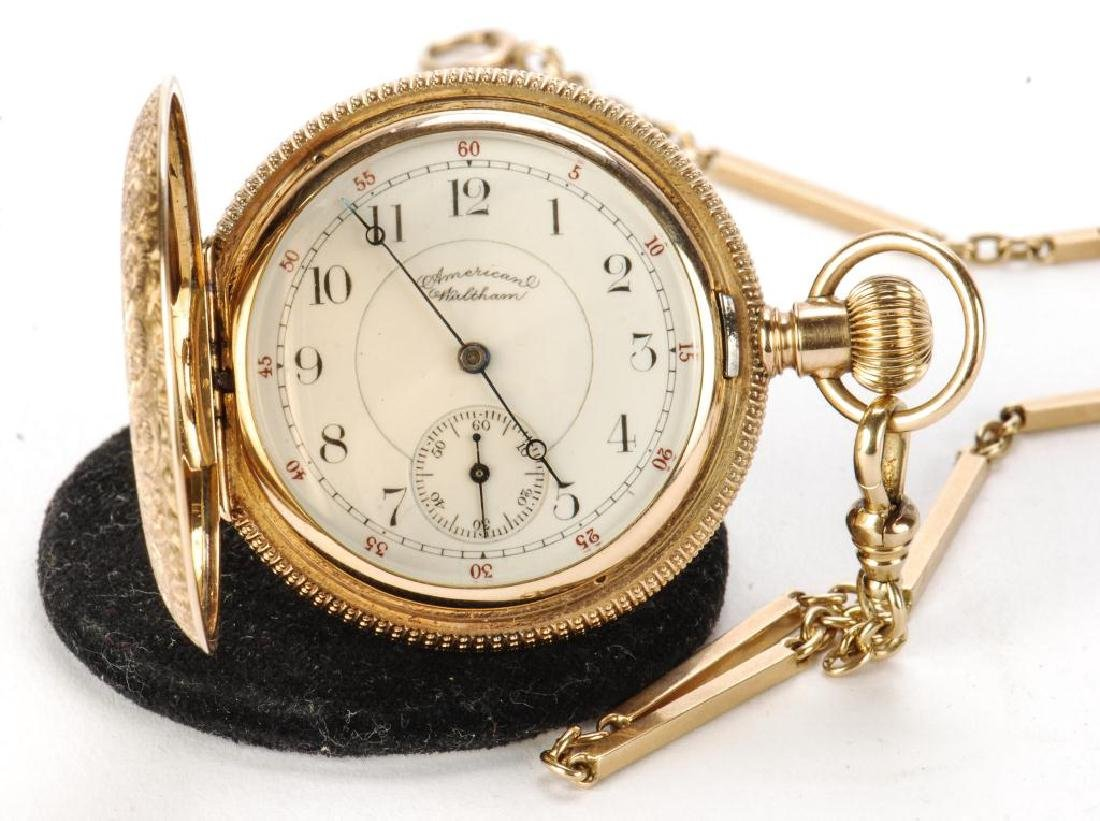 AMERICAN WALTHAM GOLD POCKET WATCH AND CHAIN - 8