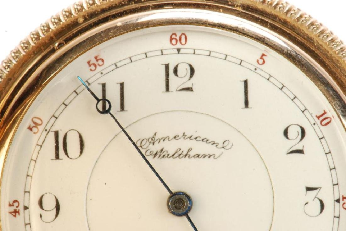 AMERICAN WALTHAM GOLD POCKET WATCH AND CHAIN - 9