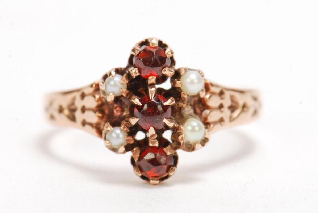 14k PINK GOLD, RUBY AND PEARL RING