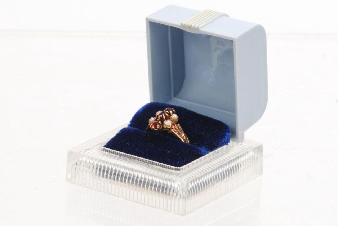 14k PINK GOLD, RUBY AND PEARL RING - 4