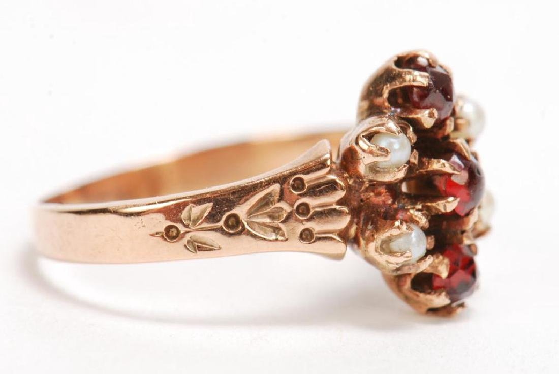 14k PINK GOLD, RUBY AND PEARL RING - 6