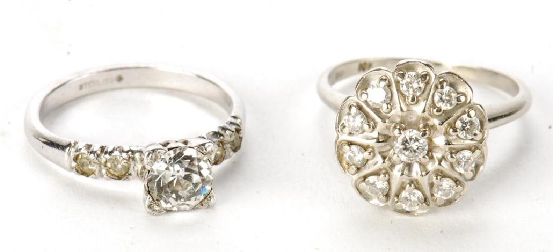 10k GOLD COCKTAIL RING & STERLING ENGAGEMENT RING