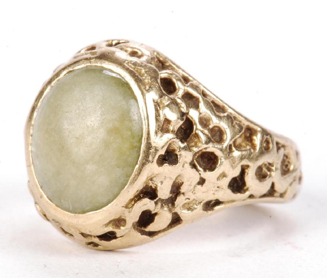 14k GOLD MEN'S RAW ORE RING SET with JADE