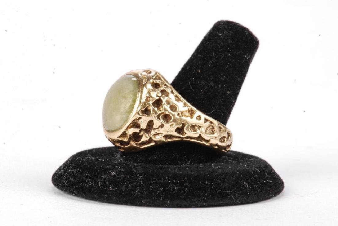 14k GOLD MEN'S RAW ORE RING SET with JADE - 2