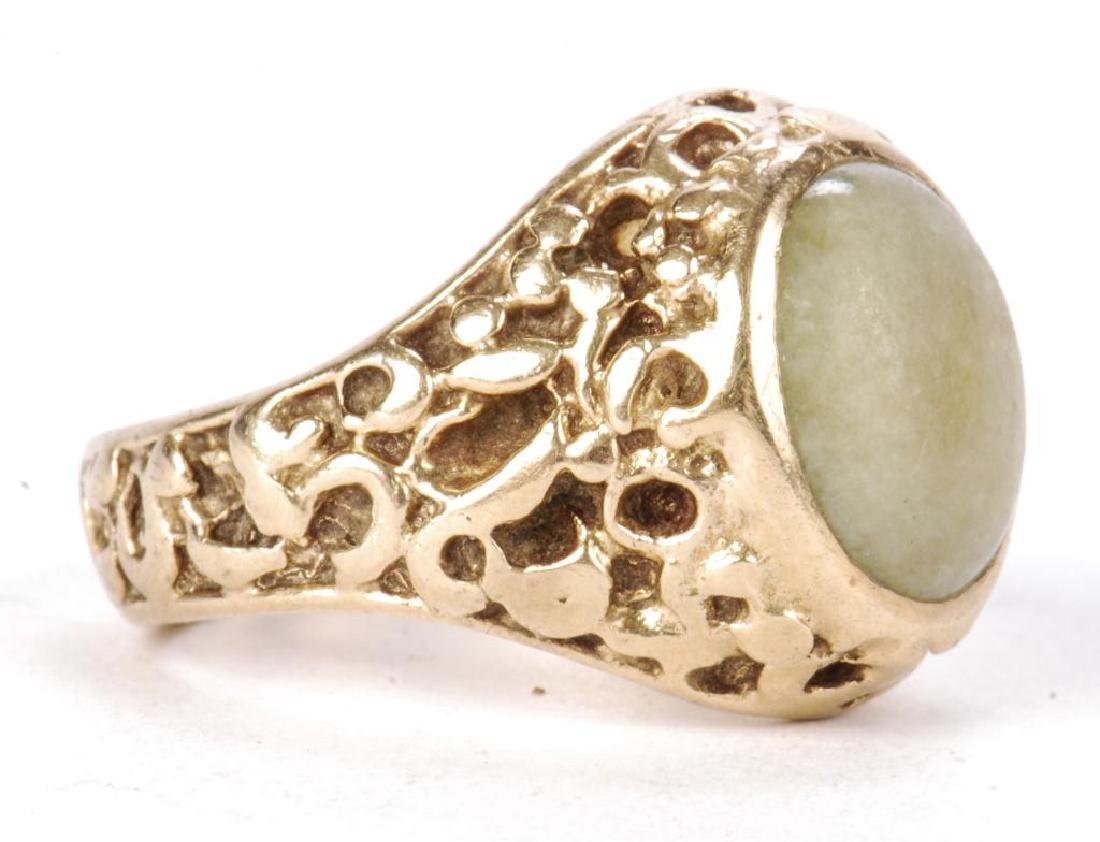 14k GOLD MEN'S RAW ORE RING SET with JADE - 4