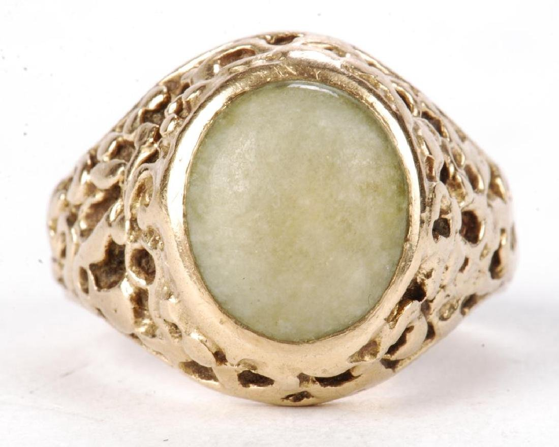 14k GOLD MEN'S RAW ORE RING SET with JADE - 7