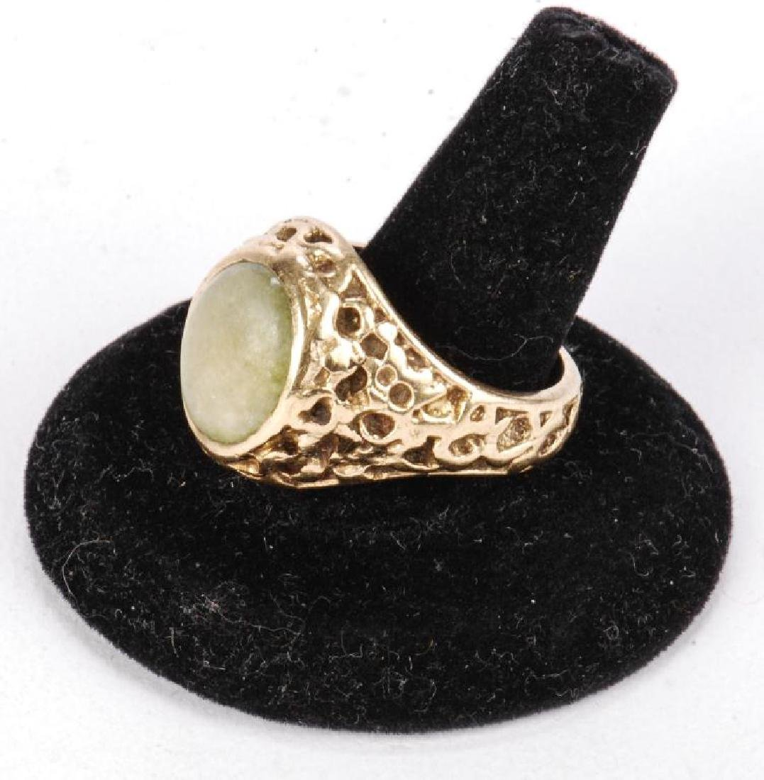 14k GOLD MEN'S RAW ORE RING SET with JADE - 8