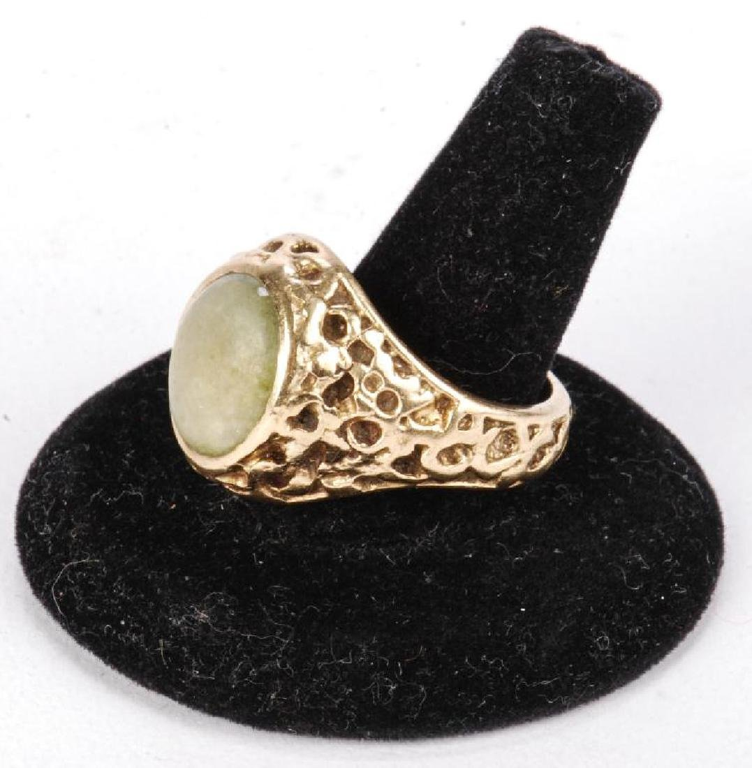 14k GOLD MEN'S RAW ORE RING SET with JADE - 9