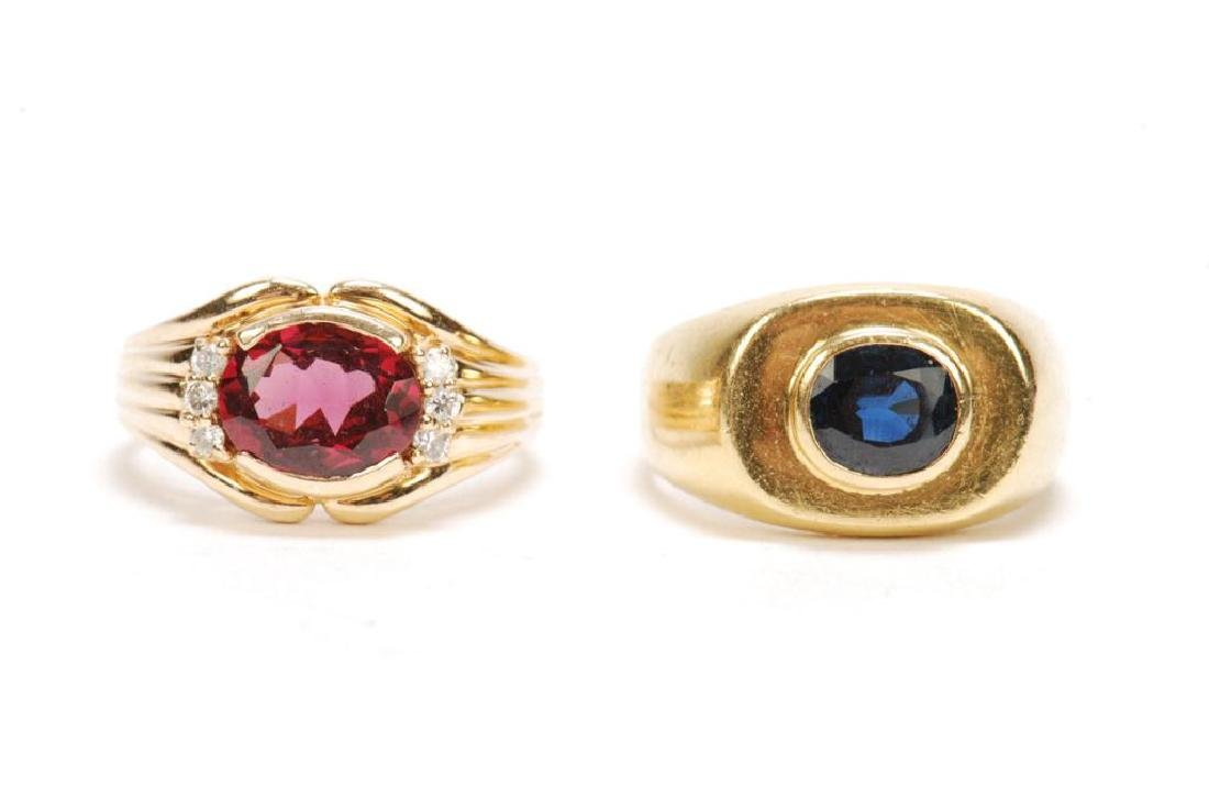 (2) 14k GOLD MEN'S RINGS SET WITH SAPPHIRE & RUBY