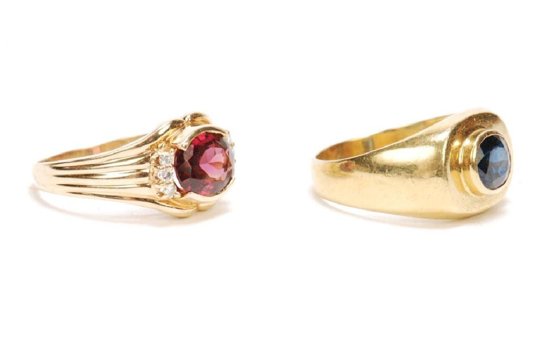 (2) 14k GOLD MEN'S RINGS SET WITH SAPPHIRE & RUBY - 4
