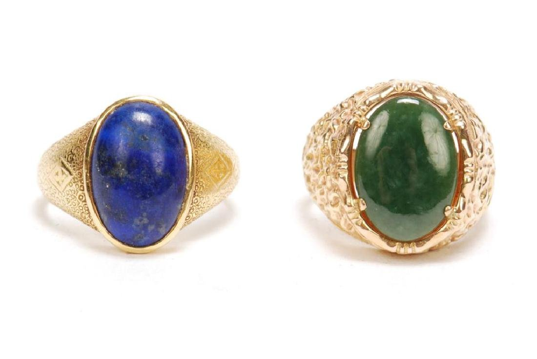 14k GOLD JADE & 18k GOLD LAPIS MEN'S RINGS