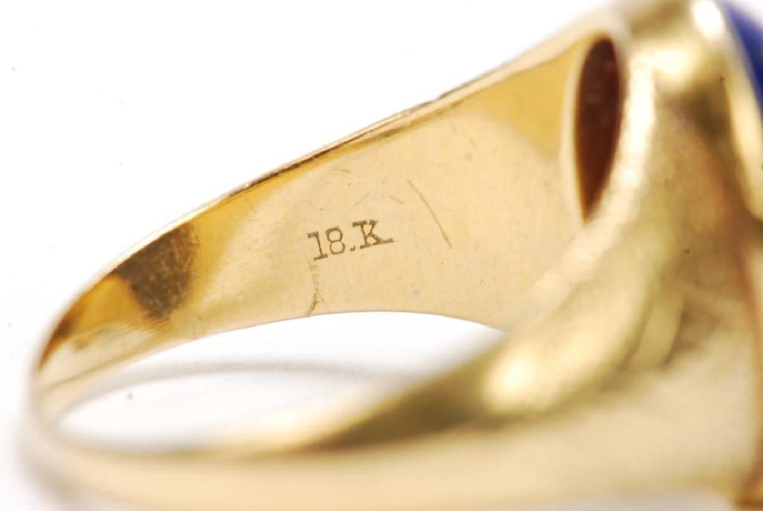 14k GOLD JADE & 18k GOLD LAPIS MEN'S RINGS - 2