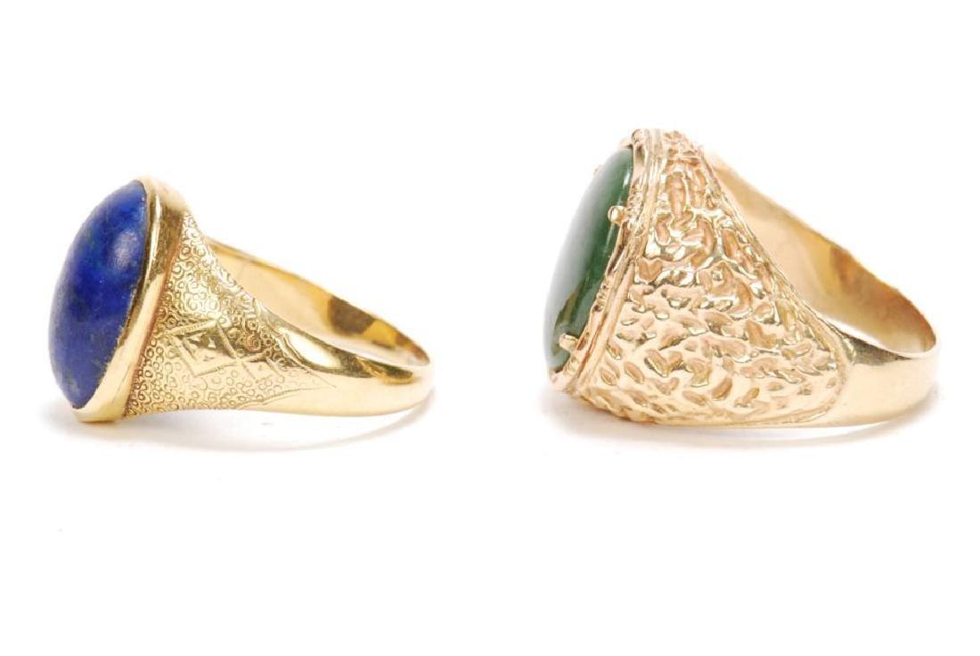 14k GOLD JADE & 18k GOLD LAPIS MEN'S RINGS - 4