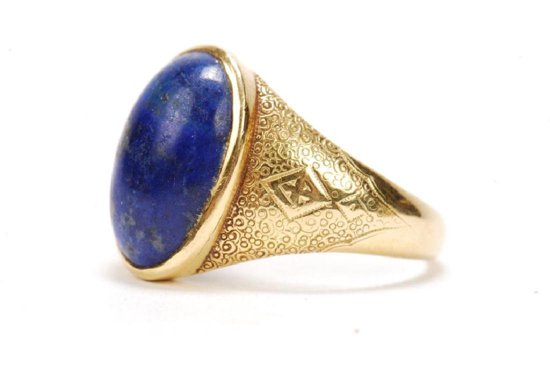 14k GOLD JADE & 18k GOLD LAPIS MEN'S RINGS - 7