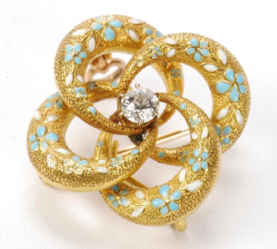 14k GOLD, DIAMOND AND ENAMEL BROOCH