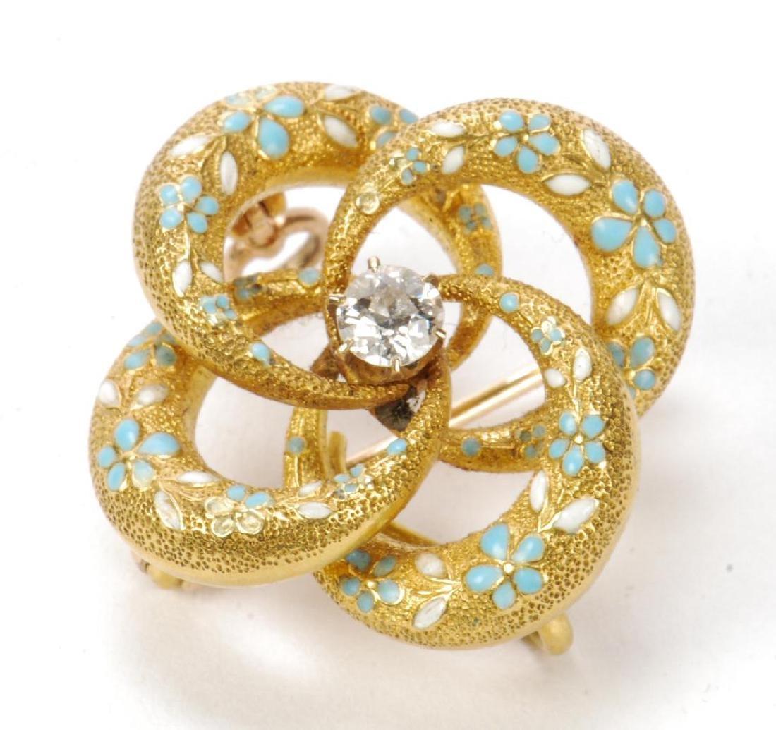 14k GOLD, DIAMOND AND ENAMEL BROOCH - 5