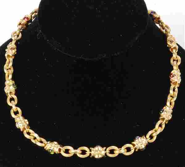 LADY'S 14k GOLD AND COLORED GEMSTONE NECKLACE