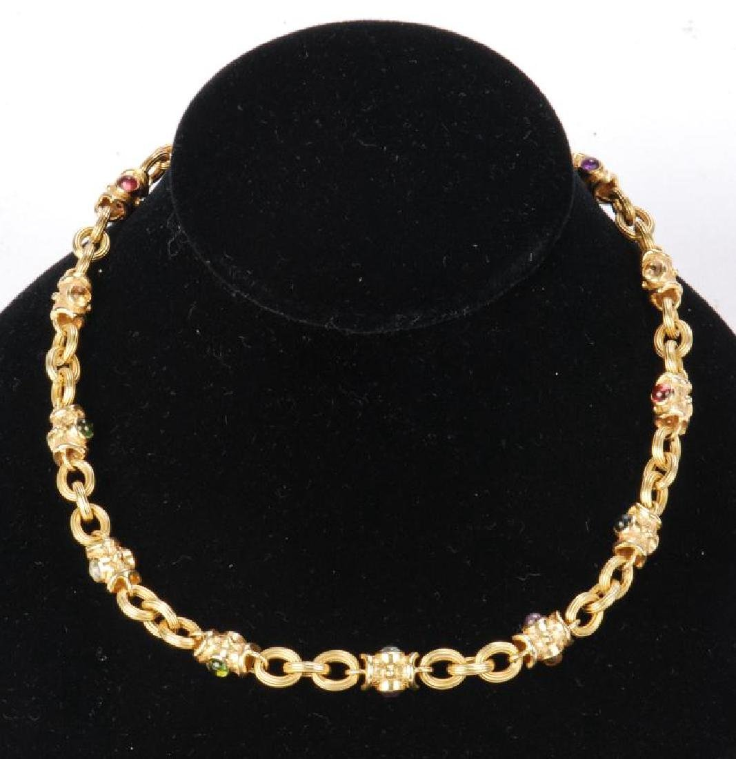 LADY'S 14k GOLD AND COLORED GEMSTONE NECKLACE - 6