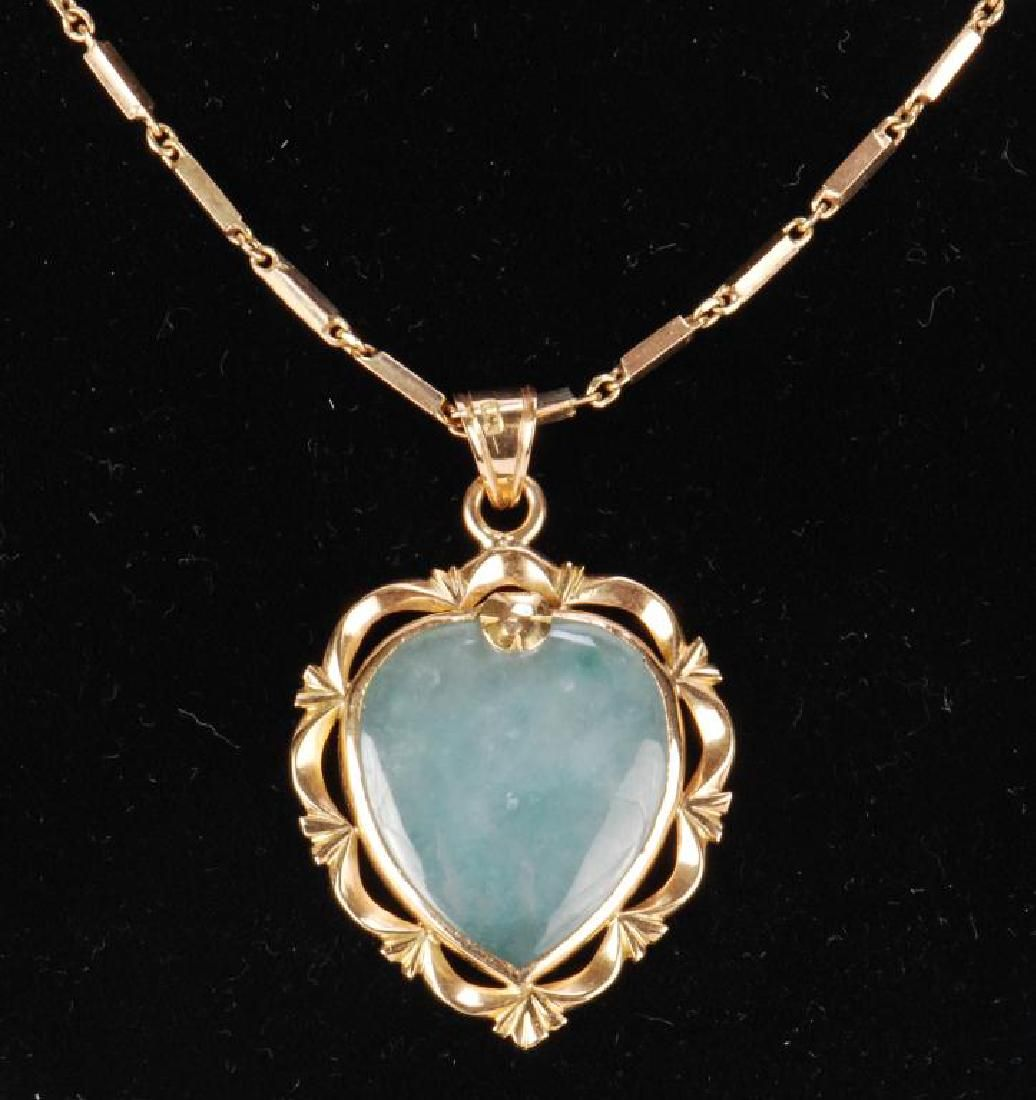 18k GOLD NECKLACE WITH 18k GOLD JADE PENDENT