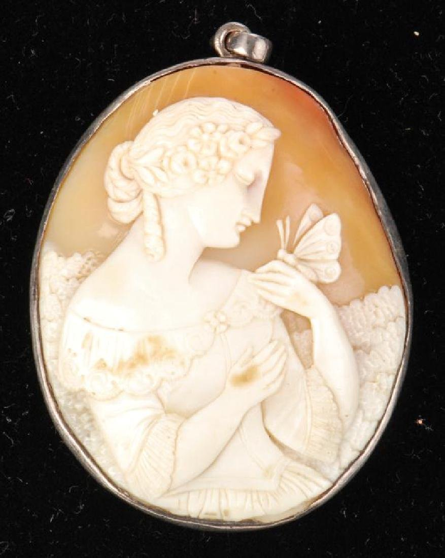 LARGE ANTIQUE CARVED SHELL CAMEO PENDENT