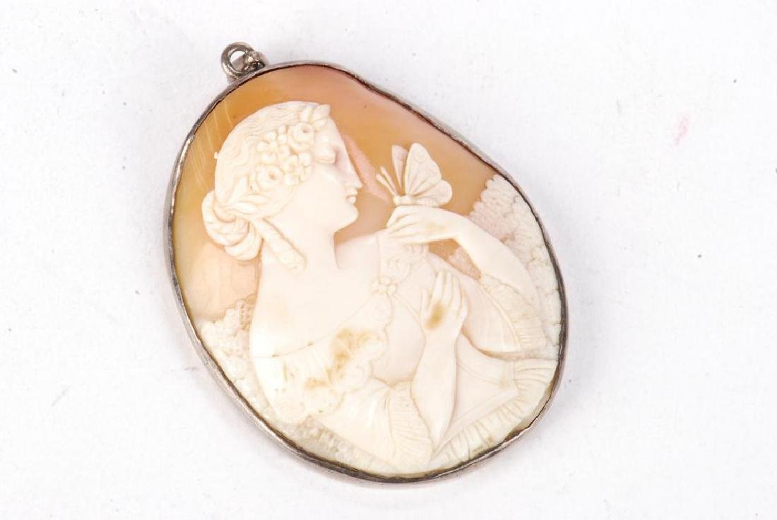 LARGE ANTIQUE CARVED SHELL CAMEO PENDENT - 2
