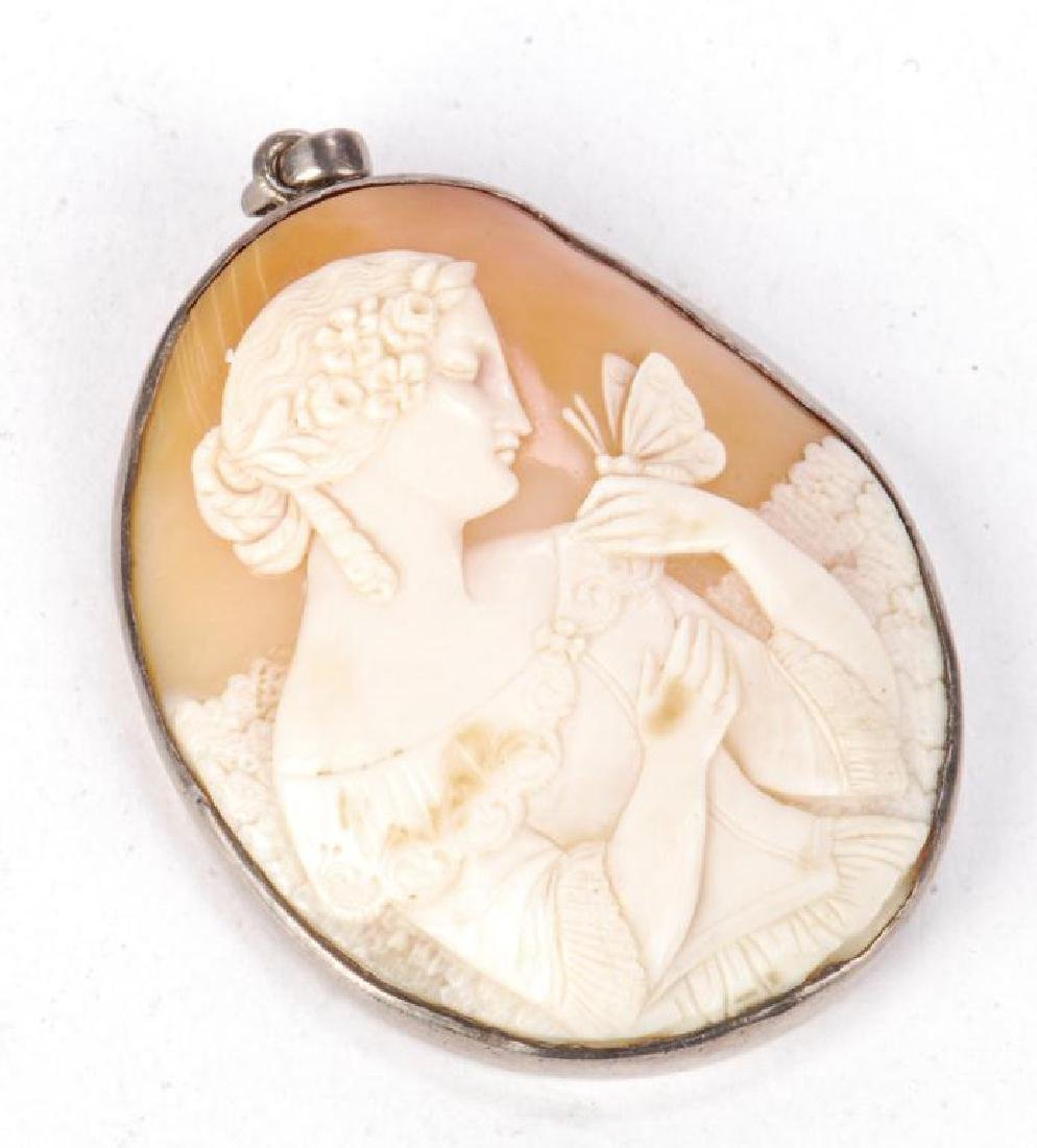 LARGE ANTIQUE CARVED SHELL CAMEO PENDENT - 5