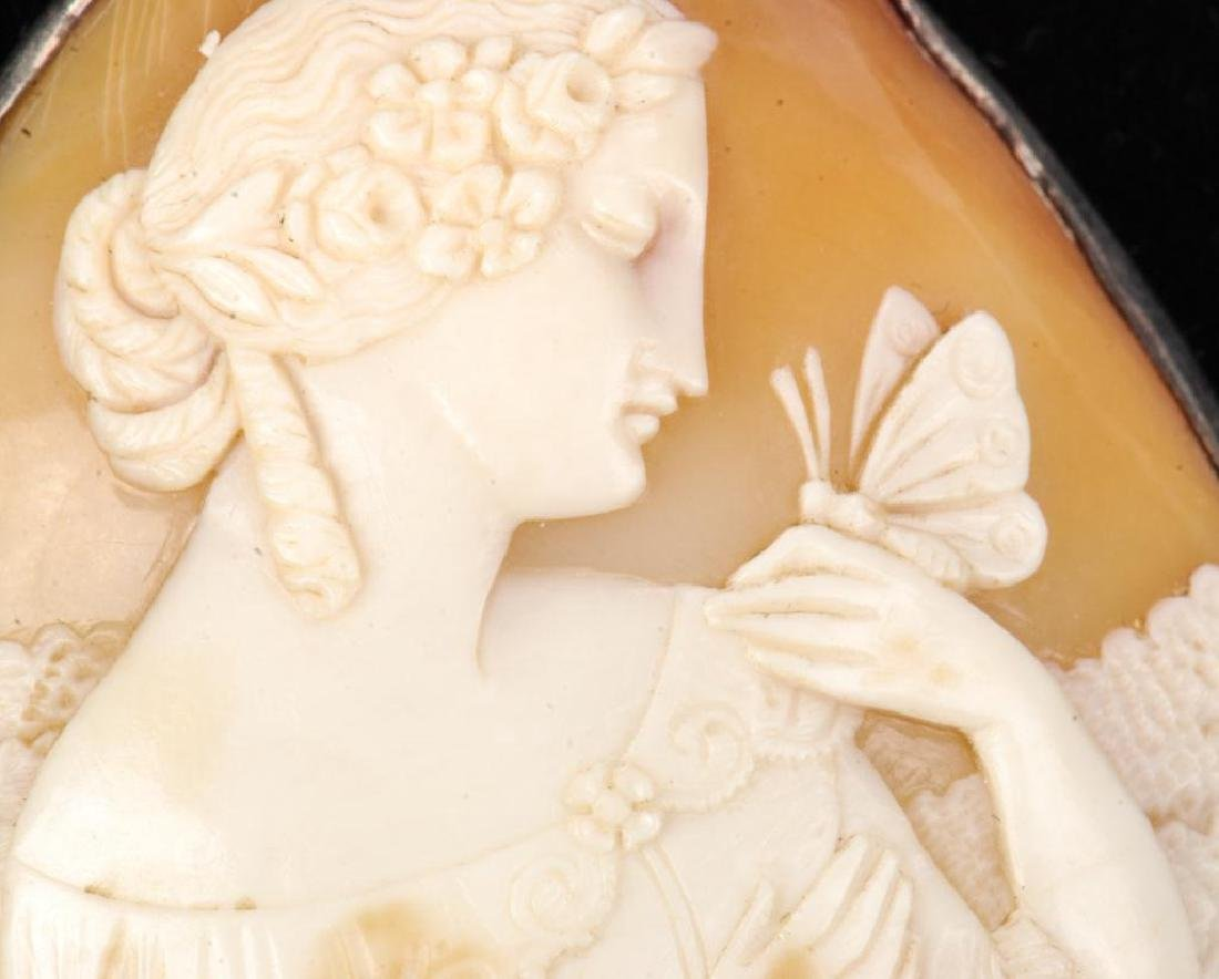 LARGE ANTIQUE CARVED SHELL CAMEO PENDENT - 6