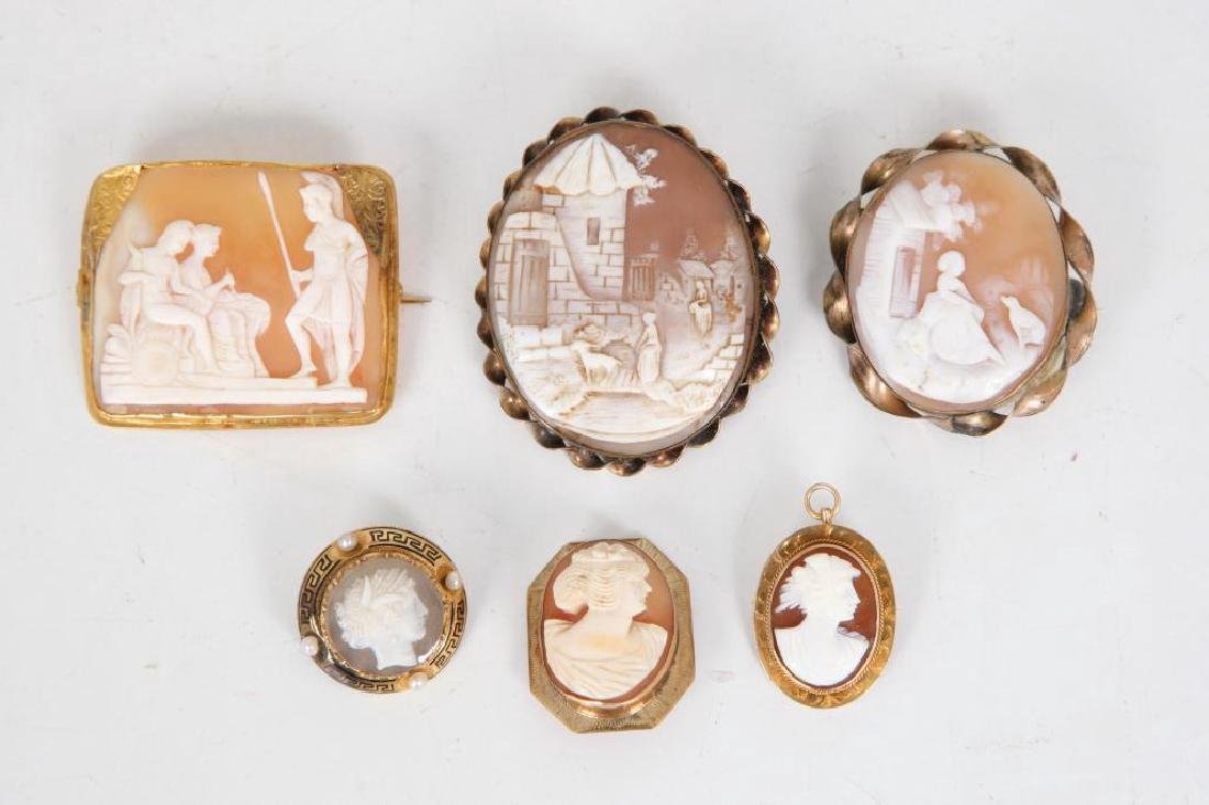 (6) ANTIQUE CAMEO BROOCHES