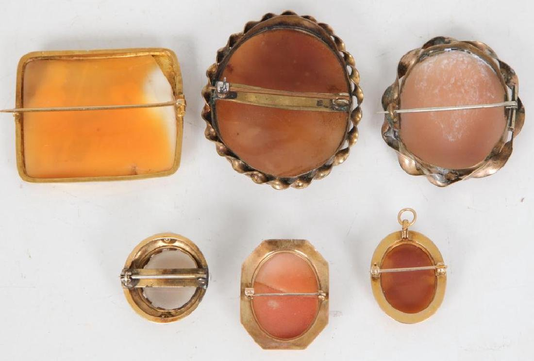 (6) ANTIQUE CAMEO BROOCHES - 3