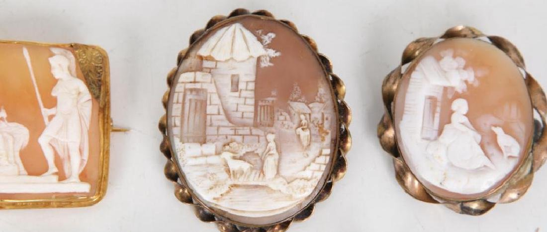 (6) ANTIQUE CAMEO BROOCHES - 6
