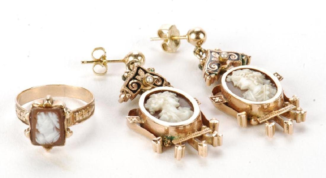 VICTORIAN CARVED SHELL CAMEO SET EARRINGS & RING