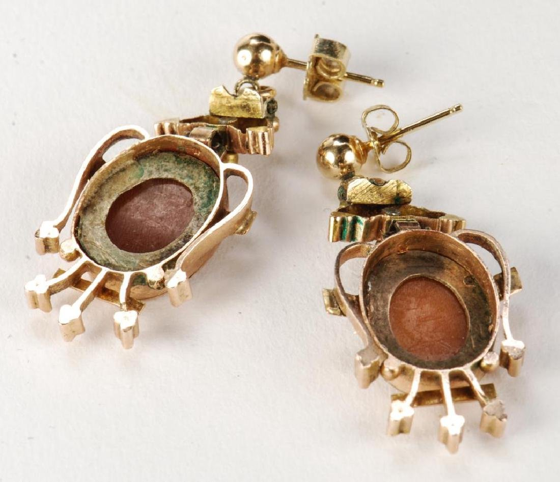 VICTORIAN CARVED SHELL CAMEO SET EARRINGS & RING - 2