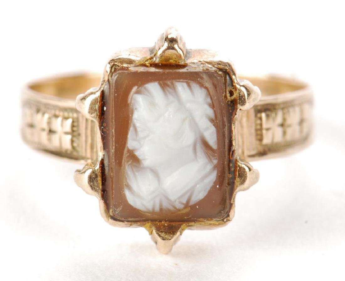 VICTORIAN CARVED SHELL CAMEO SET EARRINGS & RING - 4