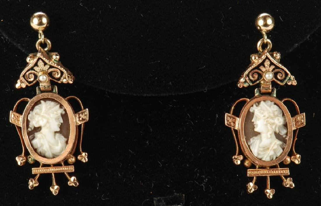 VICTORIAN CARVED SHELL CAMEO SET EARRINGS & RING - 6