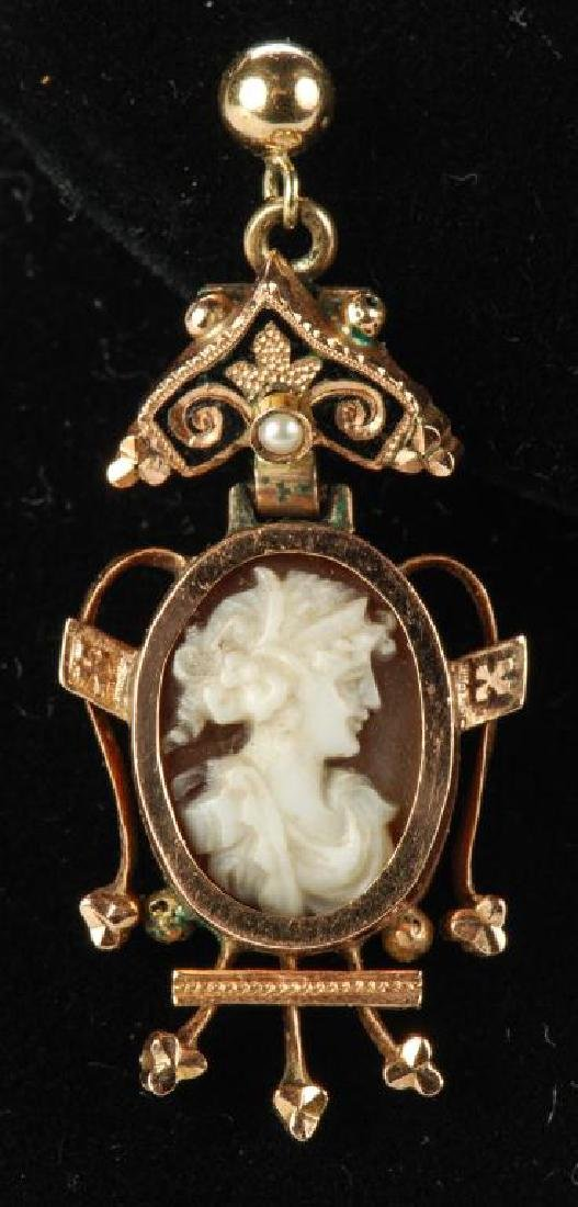 VICTORIAN CARVED SHELL CAMEO SET EARRINGS & RING - 7