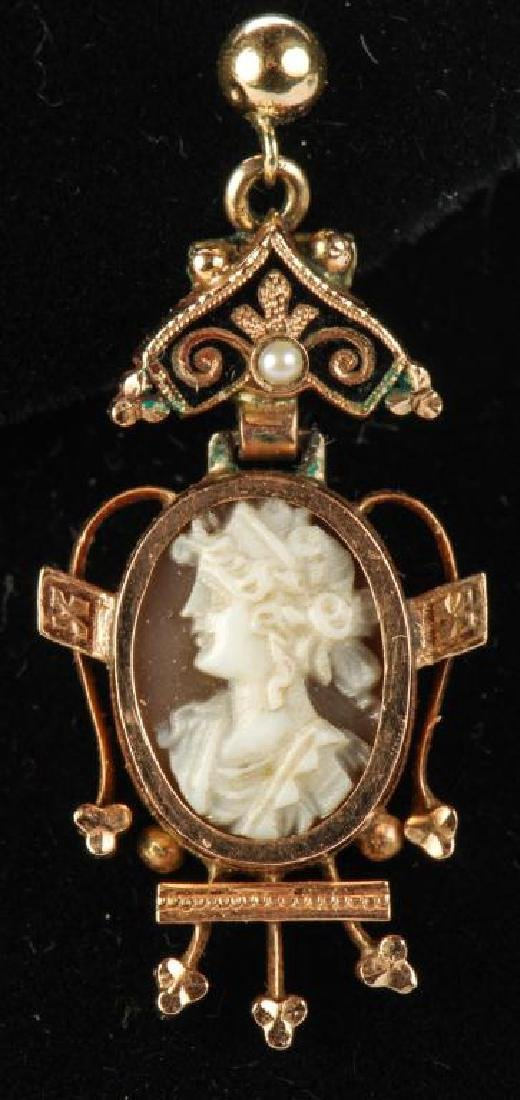 VICTORIAN CARVED SHELL CAMEO SET EARRINGS & RING - 8