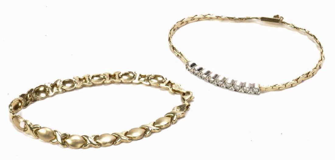14k GOLD & DIAMOND BRACELET and a 10k BRACELET - 2