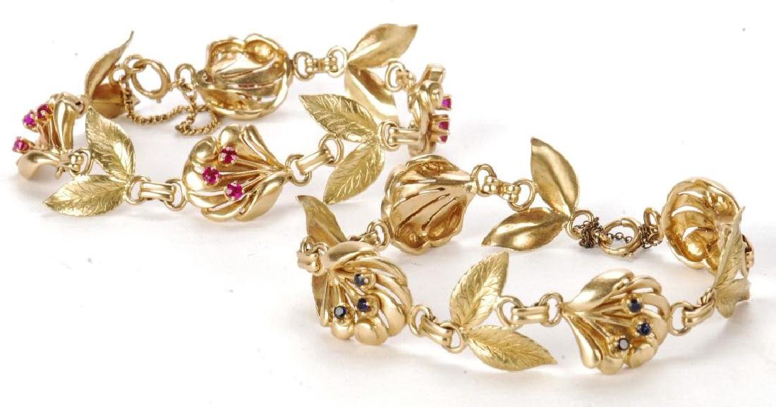 PAIR OF 14k GOLD PINK AND BLUE SAPPHIRE BRACELETS