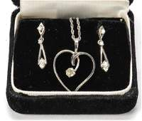 14k GOLD and DIAMOND PENDENT AND EARRINGS