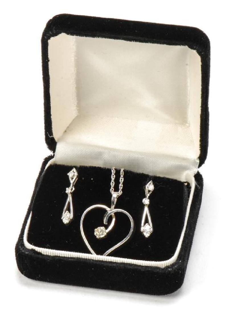 14k GOLD and DIAMOND PENDENT AND EARRINGS - 5