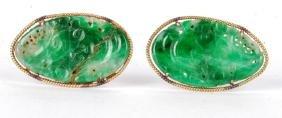 Pair Of 14k Gold Green Jade Cufflinks