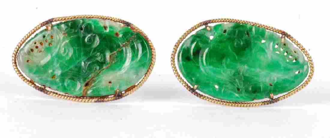 PAIR OF 14k GOLD GREEN JADE CUFFLINKS