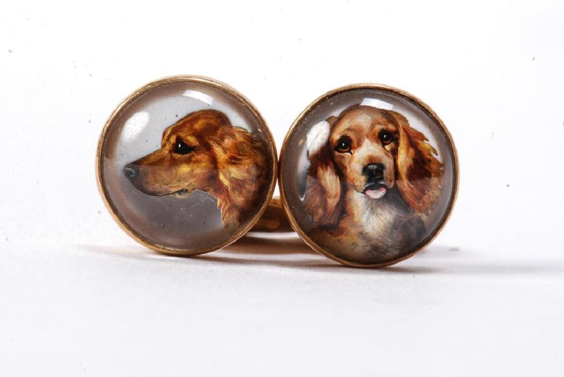 PAIR OF 14k GOLD CUFF LINKS WITH GOLDEN RETRIEVERS