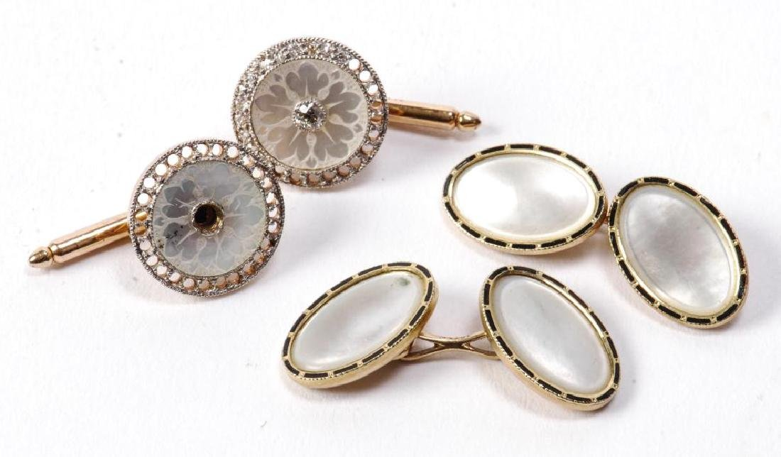 (2) PAIR OF 14k GOLD and DIAMOND CUFF LINKS
