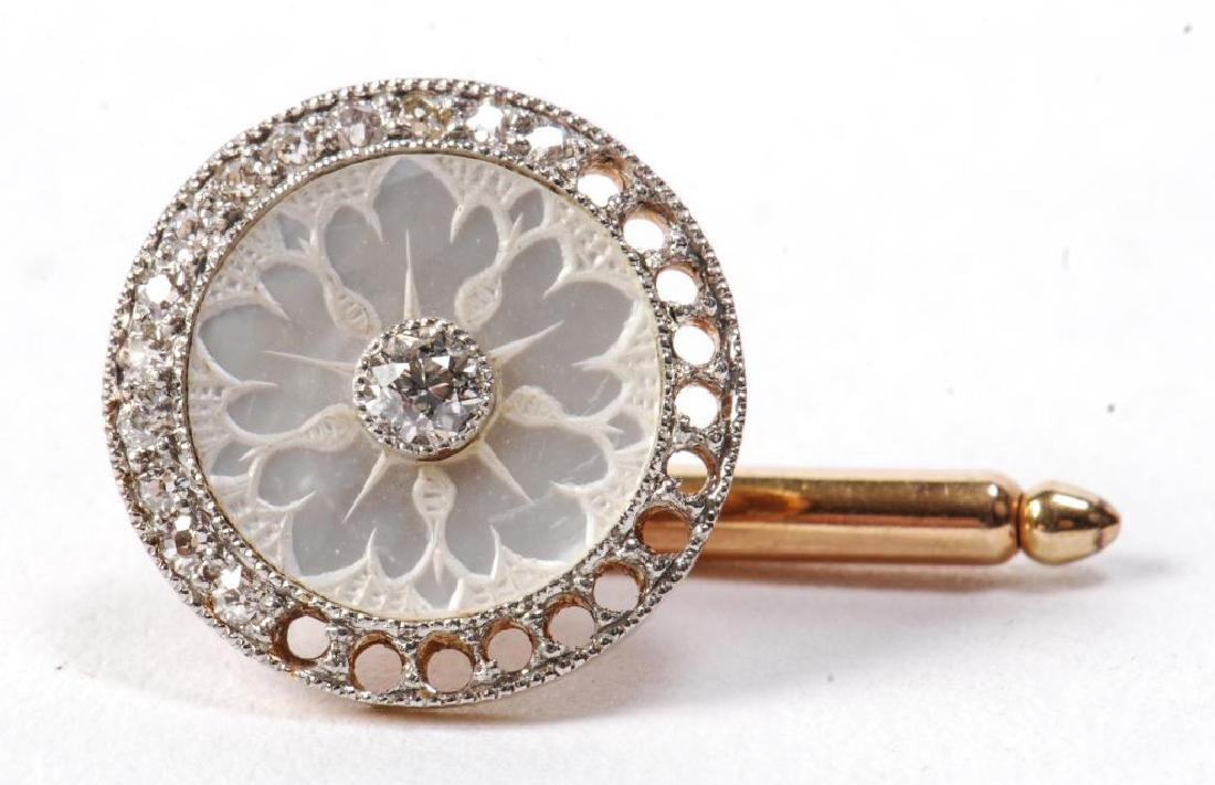(2) PAIR OF 14k GOLD and DIAMOND CUFF LINKS - 3